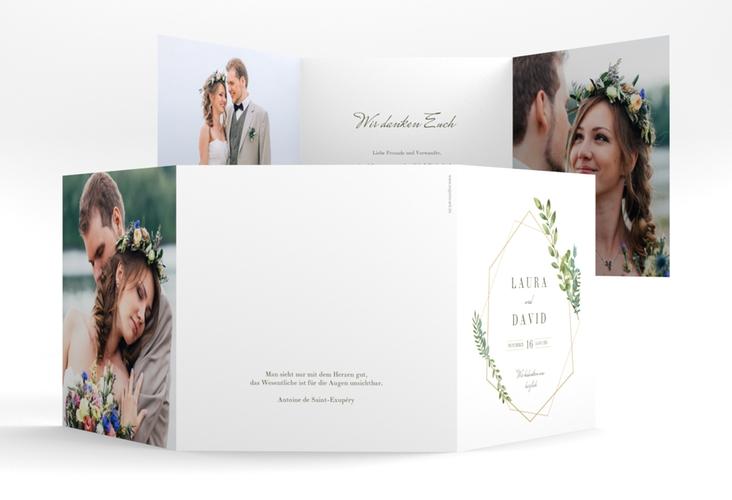 "Dankeskarte Hochzeit ""Herbarium"" Quadr. Karte doppelt gold"