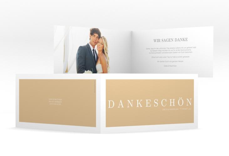"Dankeskarte Hochzeit ""Simply"" DIN lang Klappkarte beige"