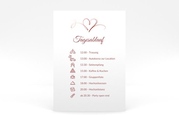"""Tagesablauf Poster Hochzeit """"Envie"""" 50 x 70 cm Poster rot"""