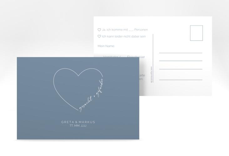 """Antwortkarte Hochzeit """"Lebenstraum"""" A6 Postkarte blau"""
