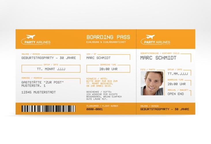 "Einladungskarte ""Boardingpass"" DIN lang orange"