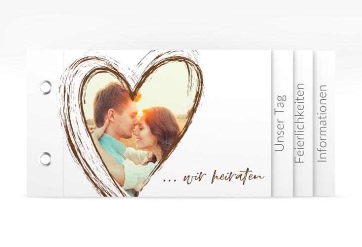 """Hochzeitseinladung """"Liebe"""" Booklet braun"""