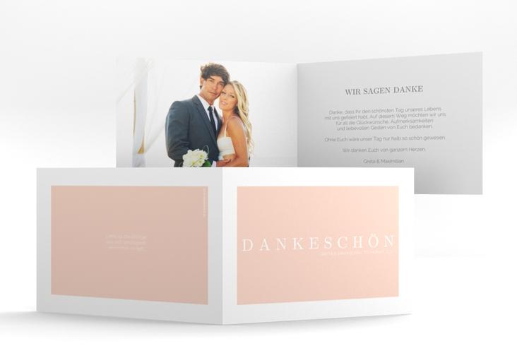 """Dankeskarte Hochzeit """"Simply"""" A6 Klappkarte Quer rosa"""