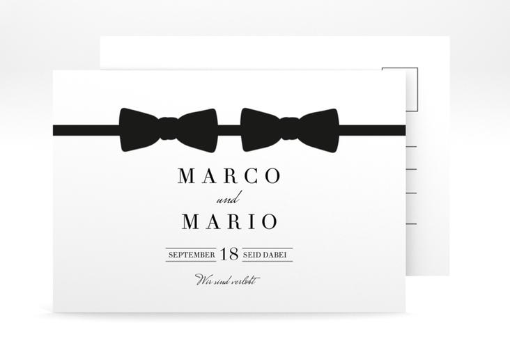 """Verlobungskarte Hochzeit """"Suits"""" A6 Postkarte schwarz"""
