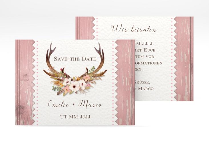 "Save the Date-Visitenkarte ""Heimatjuwel"" Visitenkarte rosa"