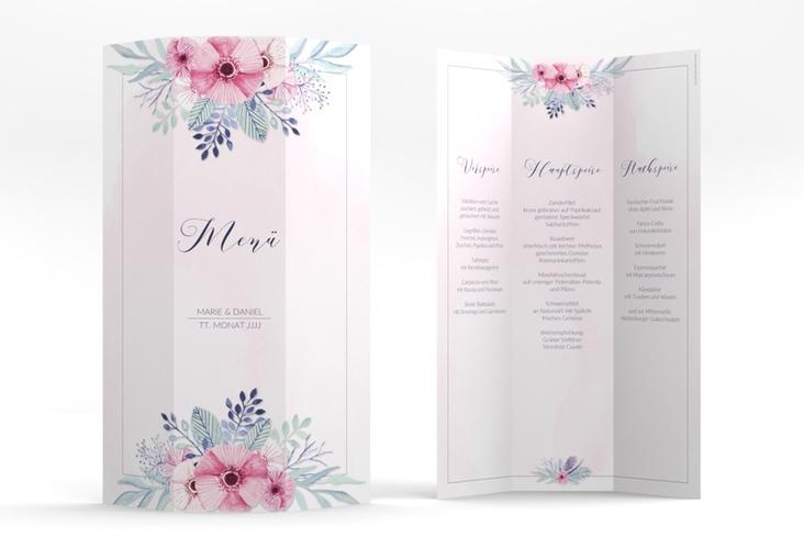 "Menükarte Hochzeit ""Surfinia"" DIN A4 Wickelfalz rosa"