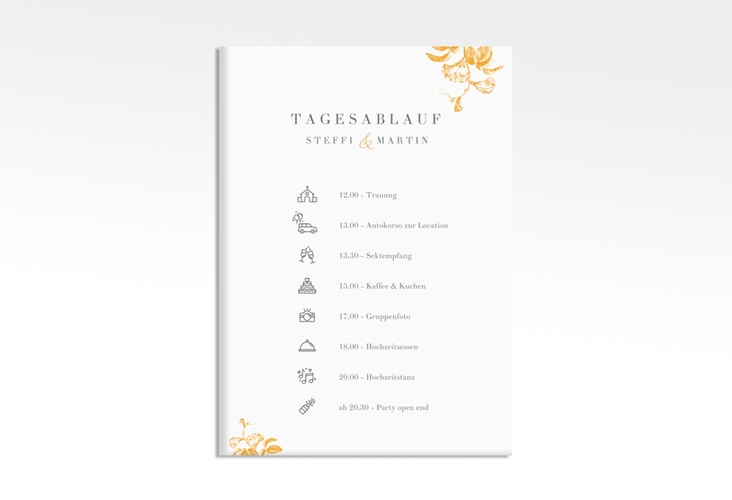 """Tagesablauf Leinwand Hochzeit """"Magnificent"""" 50 x 70 cm Leinwand gelb"""