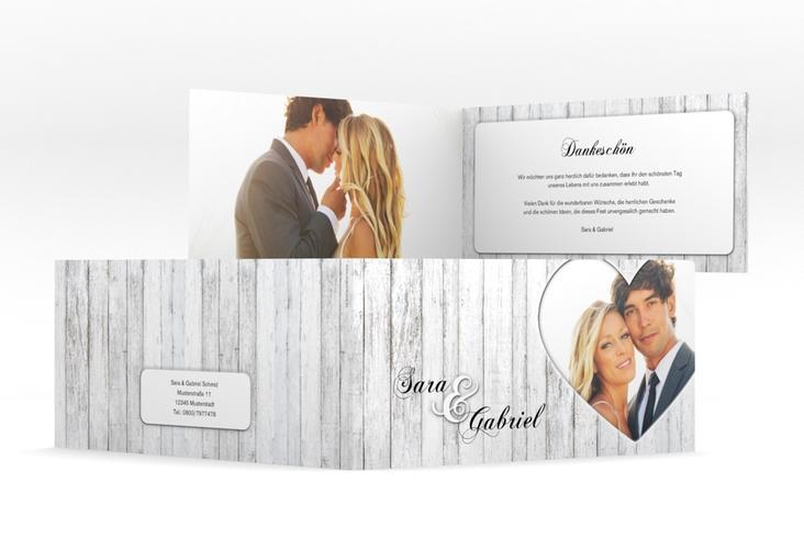 """Danksagungskarte Hochzeit """"Herz"""" DIN lang Klappkarte"""