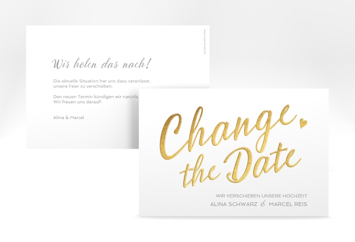 "Change the Date-Karte ""Glam"" A6 quer weiss"