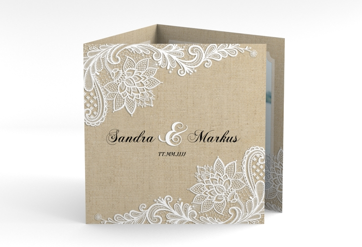 "Dankeskarte Hochzeit ""Lace"" Quadr. Karte doppelt beige"