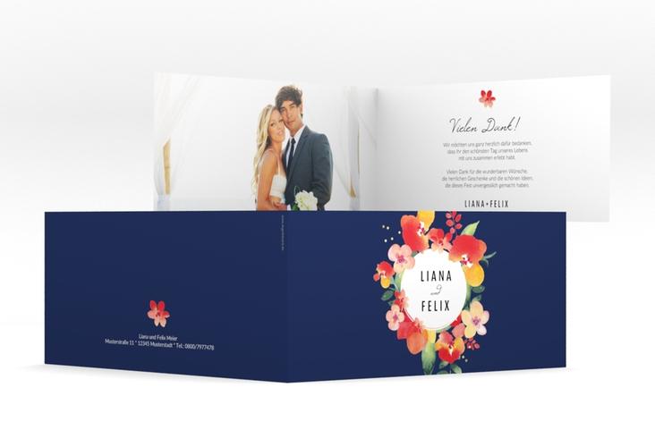 """Danksagungskarte Hochzeit """"Exotic"""" DIN lang Klappkarte blau"""