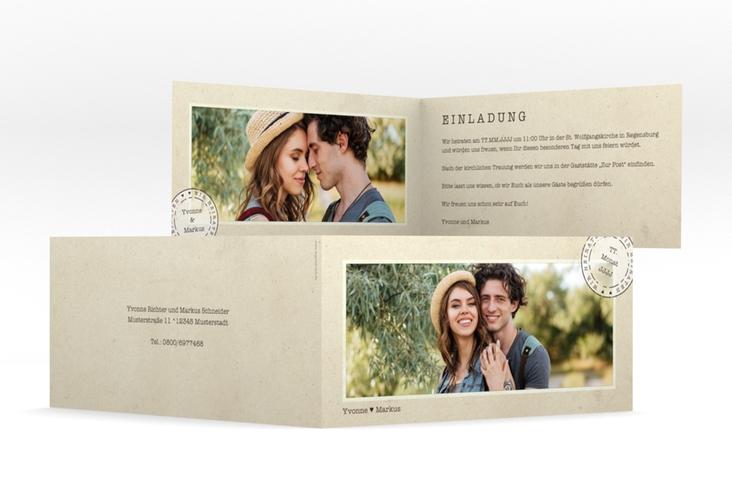 """Hochzeitseinladung """"Stamp"""" DIN lang Klappkarte"""