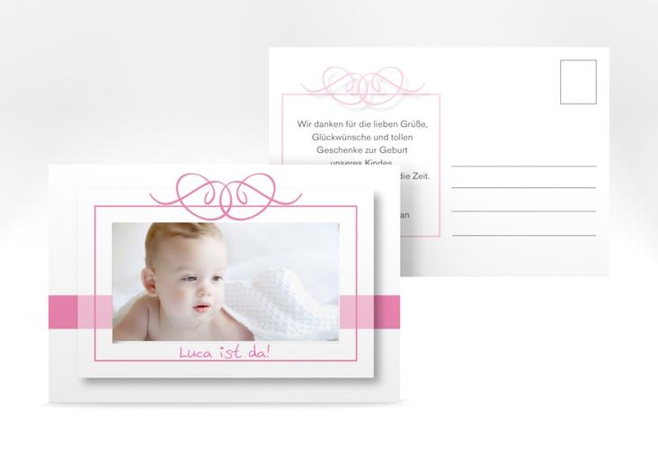 Geburtskarte Arabeske A6 Postkarte rosa