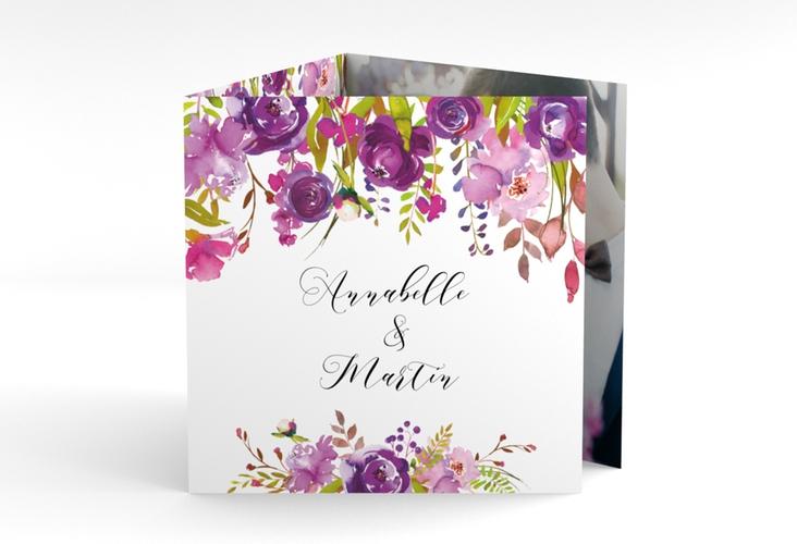 """Dankeskarte Hochzeit """"Violett"""" Quadr. Karte doppelt"""