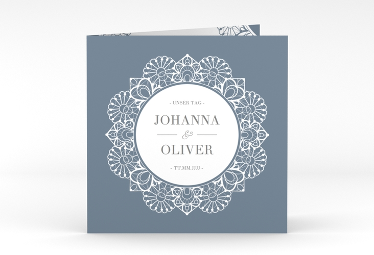 """Hochzeitseinladung """"Nostalgie"""" Quadratische Klappkarte blau"""