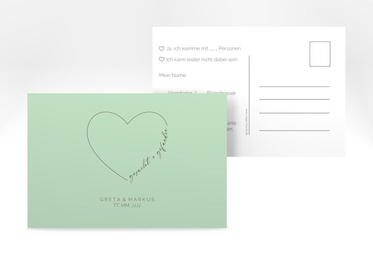 """Antwortkarte Hochzeit """"Lebenstraum"""" A6 Postkarte mint"""