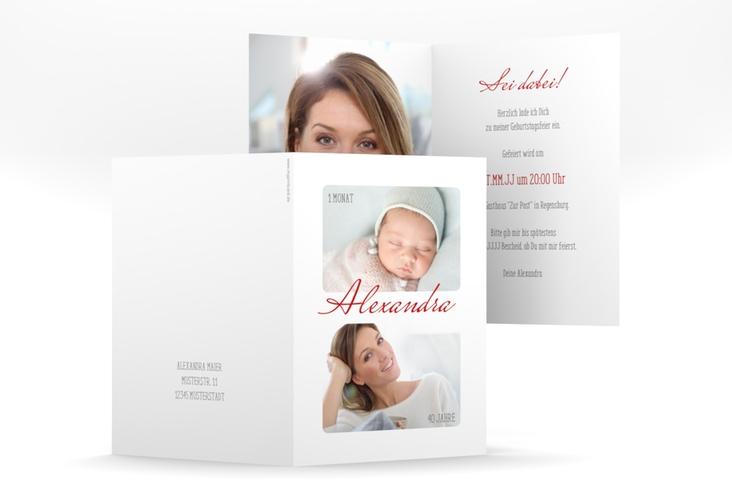 """Einladungskarte """"Zeitlos"""" A6 Klappkarte weiss"""