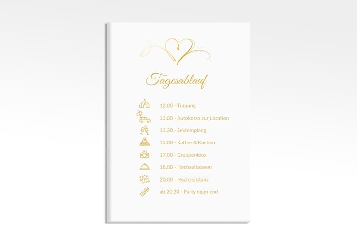 """Tagesablauf Leinwand Hochzeit """"Envie"""" 50 x 70 cm Leinwand gold"""