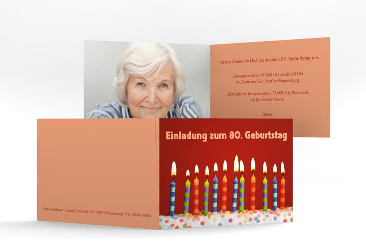"Einladungskarte ""Candles"" A6 Klappkarte Quer rot"