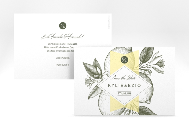 "Save the Date-Karte Hochzeit ""Lemon"" A6 quer"