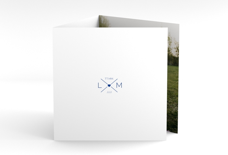 "Dankeskarte Hochzeit ""Initials"" Quadr. Karte doppelt blau"