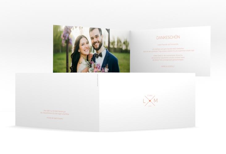 "Dankeskarte Hochzeit ""Initials"" DIN lang Klappkarte apricot"