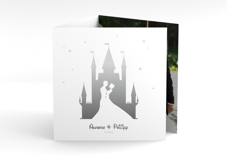 "Dankeskarte Hochzeit ""Castle"" Quadr. Karte doppelt grau"