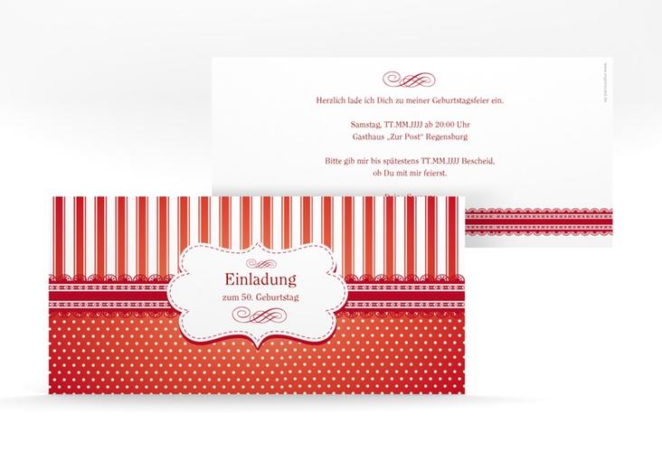 """Einladungskarte """"Heinrich/Henriette"""" DIN lang rot"""