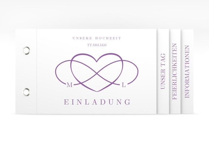 "Hochzeitseinladung ""Infinity"" Booklet lila"