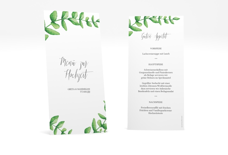 """Menükarte Hochzeit """"Botanic"""" DIN lang hoch weiss"""