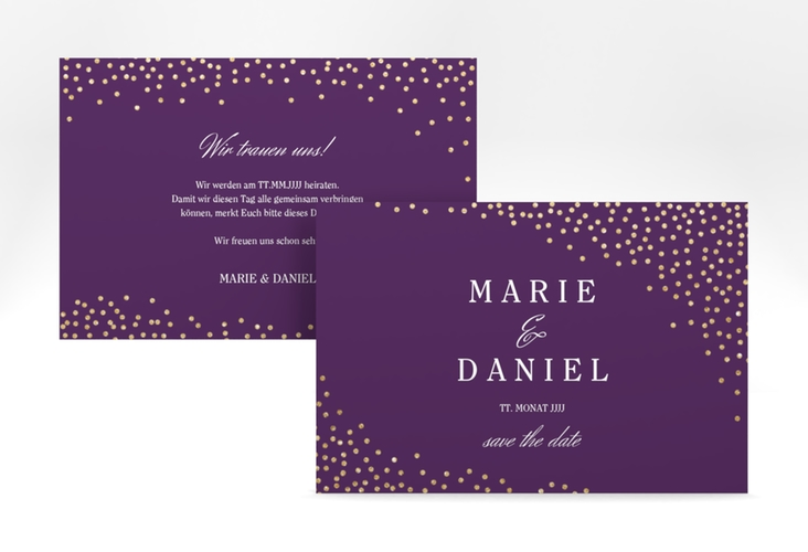 "Save the Date-Karte ""Glitter"" A6 quer lila"