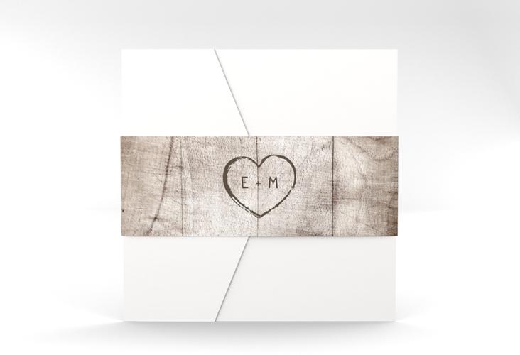 """Hochzeitseinladung """"Wood"""" Pocketfold weiss"""