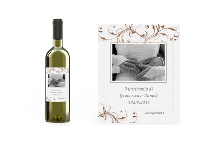 Etichette vino matrimonio collezione Palma Etikett Weinflasche 4er Set marrone