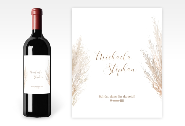 """Weinetikett zur Hochzeit """"Pampasgras"""" Etikett Weinflasche 4er Set"""