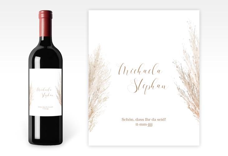"""Weinetikett zur Hochzeit """"Pampasgras"""" Etikett Weinflasche 4er Set weiss"""