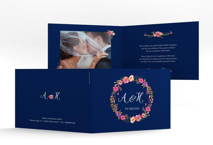 """Danksagungskarte Hochzeit """"Fiore"""" A6 Klappkarte Quer blau"""