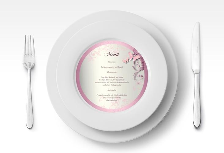 """Menükarte Hochzeit """"Toulouse"""" rund rosa"""