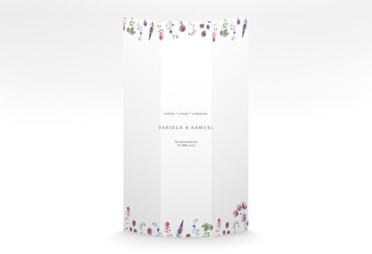 """Menükarte Hochzeit """"Wildblumen"""" DIN A4 Wickelfalz weiss"""
