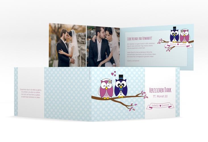 """Danksagungskarte Hochzeit """"Eulenliebe"""" DIN lang Klappkarte blau"""