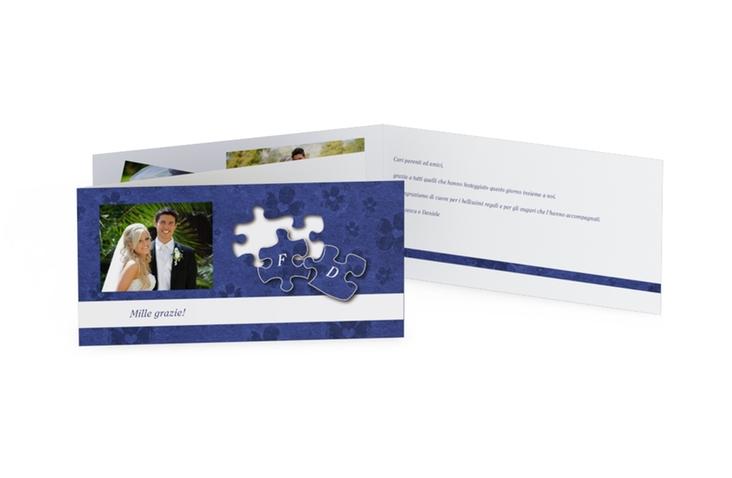 Ringraziamenti matrimonio collezione Bergamo DIN lang Klappkarte blu