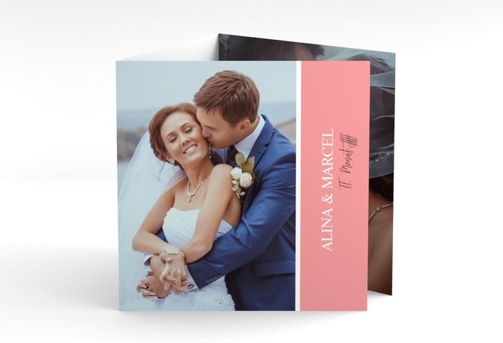 "Dankeskarte Hochzeit ""Classic"" Quadr. Karte doppelt rosa"
