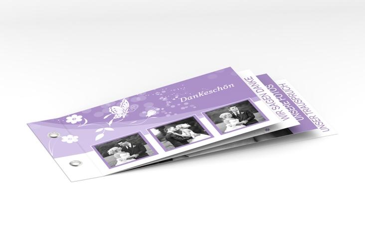 "Danksagungskarte Hochzeit ""Verona"" Booklet lila"