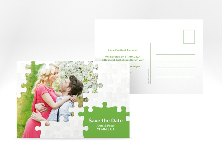 "Save the Date-Postkarte ""Puzzle"" A6 Postkarte"