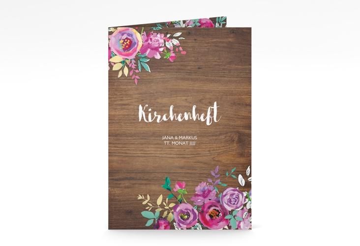 """Kirchenheft Hochzeit """"Flourish"""" DIN A5 geklappt"""