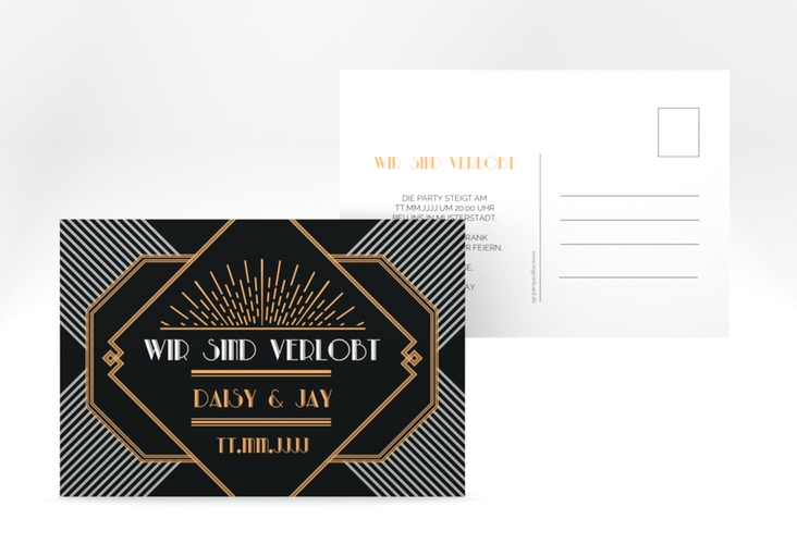 "Verlobungskarte Hochzeit ""Gatsby"" A6 Postkarte"