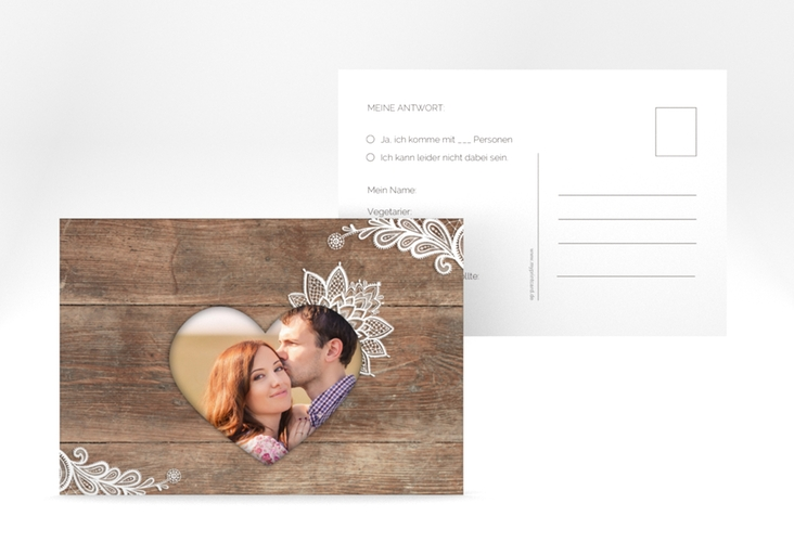 "Antwortkarte Hochzeit  ""Spitze"" A6 Postkarte"