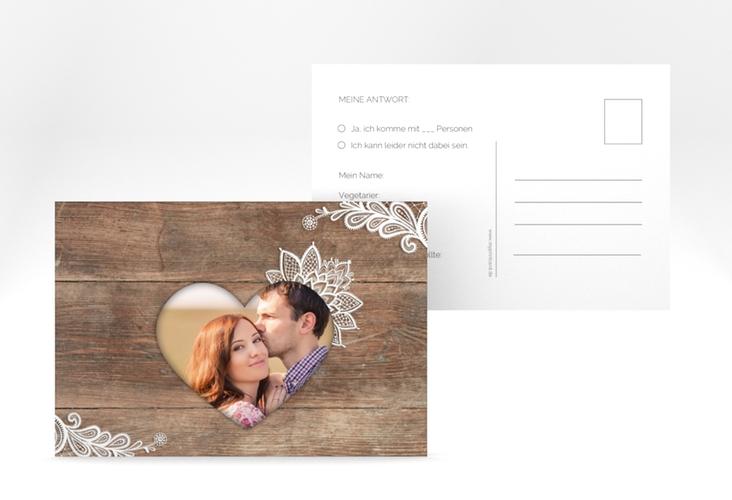 """Antwortkarte Hochzeit  """"Spitze"""" A6 Postkarte braun"""