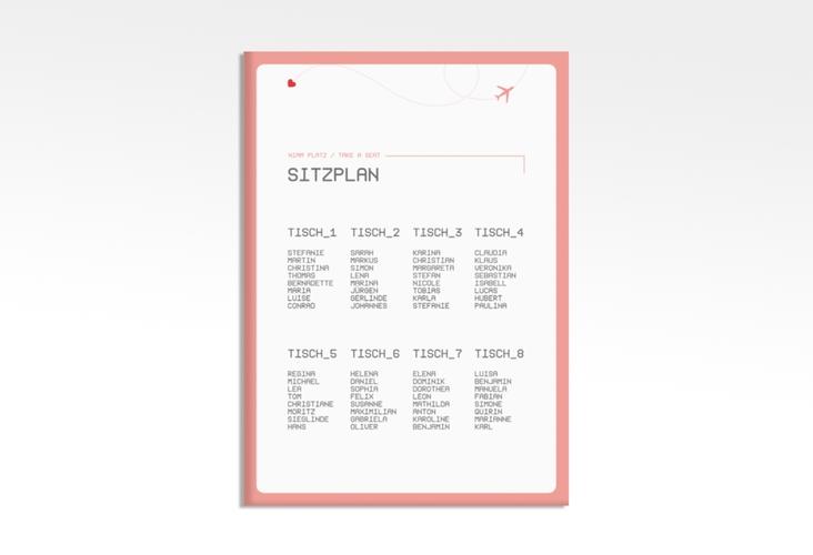"Sitzplan Leinwand Hochzeit ""Weddingpass"" 50 x 70 cm Leinwand rosa"