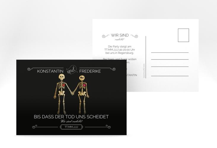 """Verlobungskarte Hochzeit """"Bones"""" A6 Postkarte schwarz"""