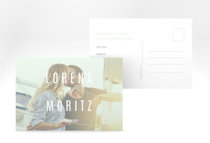 """Antwortkarte Hochzeit """"Memory"""" A6 Postkarte mint"""